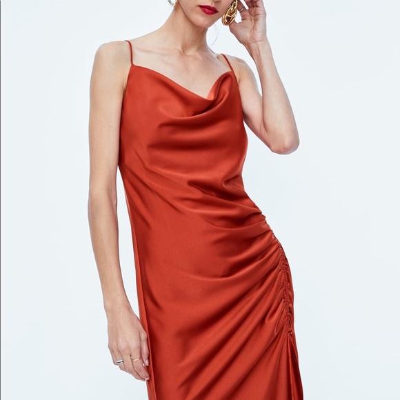 05e9cc21 Zara Dresses | Nwt Orange Satin Spaghetti Strap Cami Dress | Poshmark